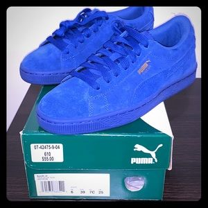 New! Puma Blue Suede with Gold Logo Sneakers